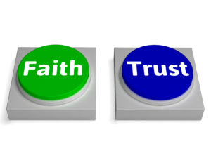 Faith Trust Buttons Showing Trusting Or Believing