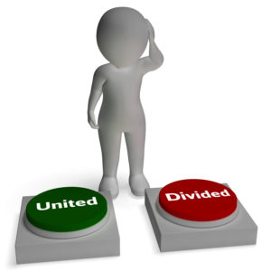United Divided Buttons Shows Togetherness Or Union
